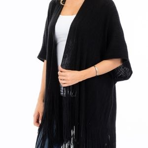 Fringe Trimmed Sweater Knit Poncho